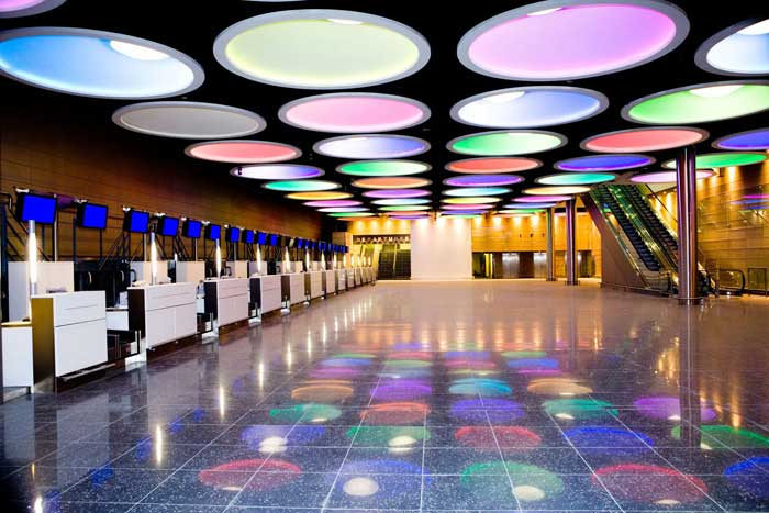 RGB Down Lights from ECI Lighting in Dublin Airport