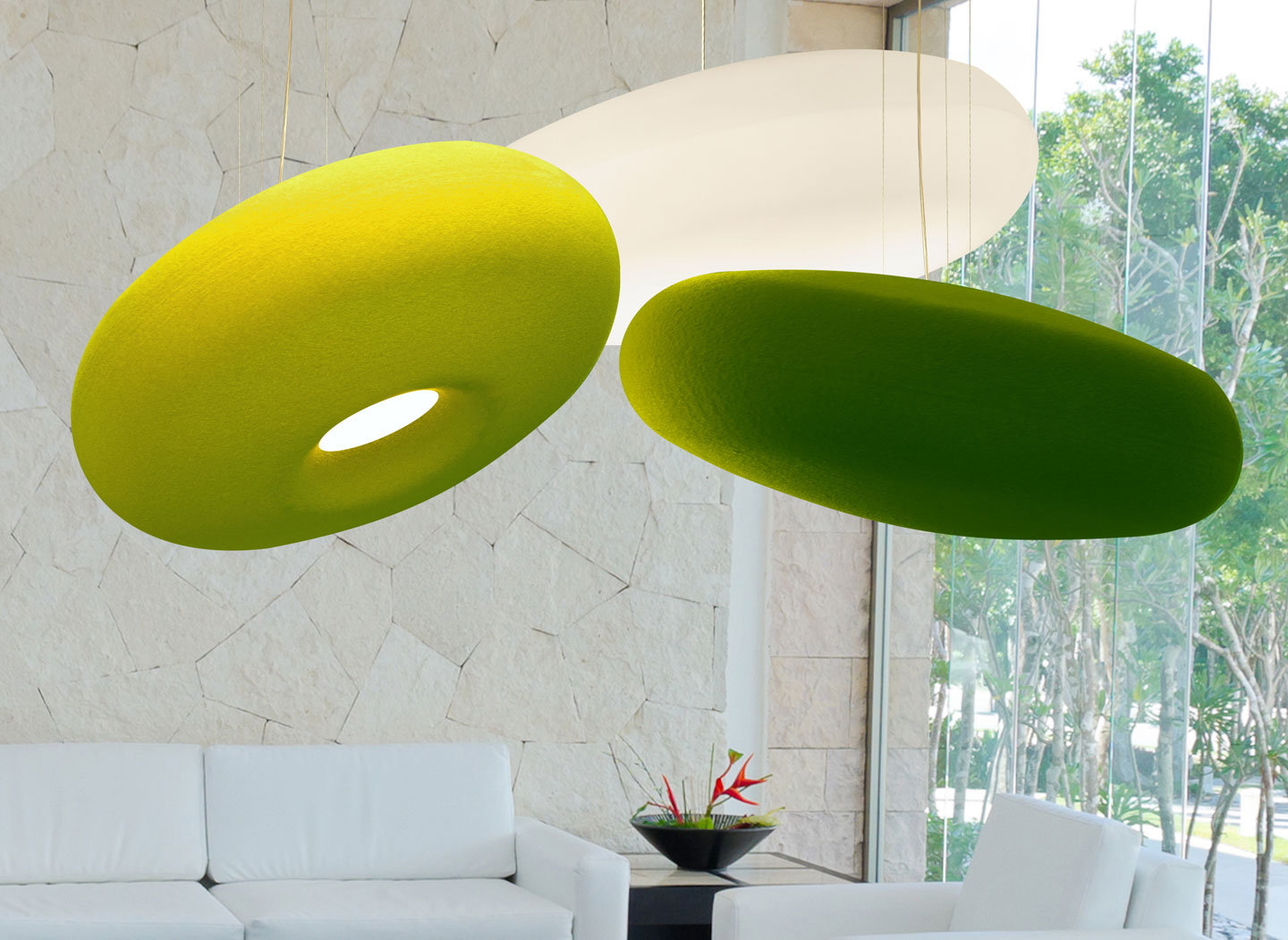 Donut Acoustic Luminaire in a Residential Home