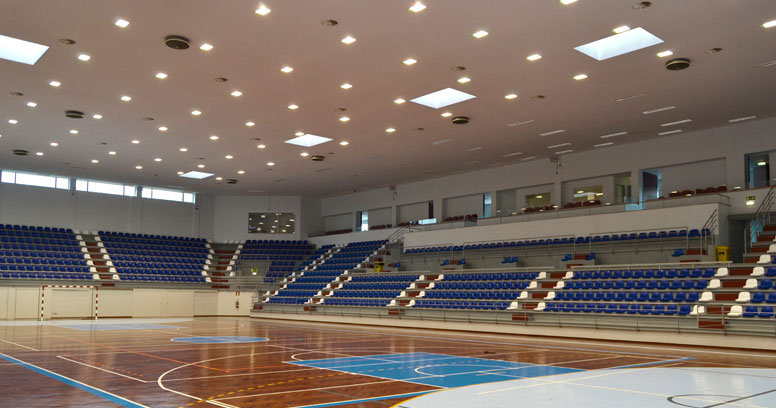 Recessed Square Spotlights at a Sports Centre