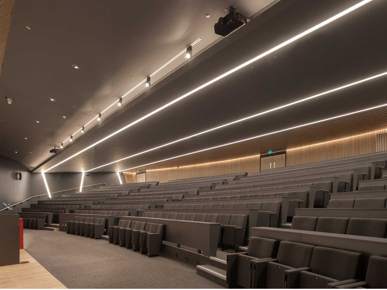 The continuous lines of light provide a stunning view on entry into the auditorium