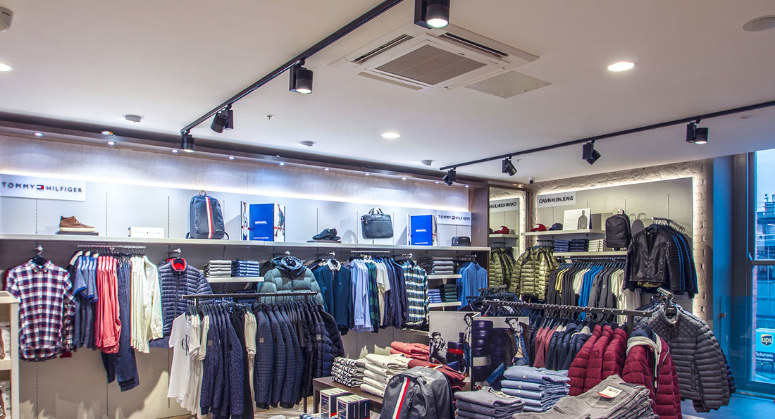 Prelux Cosmo Track Spots, Pluto Adjustable and Genoa Downlights are ideal fittings for retail lighting