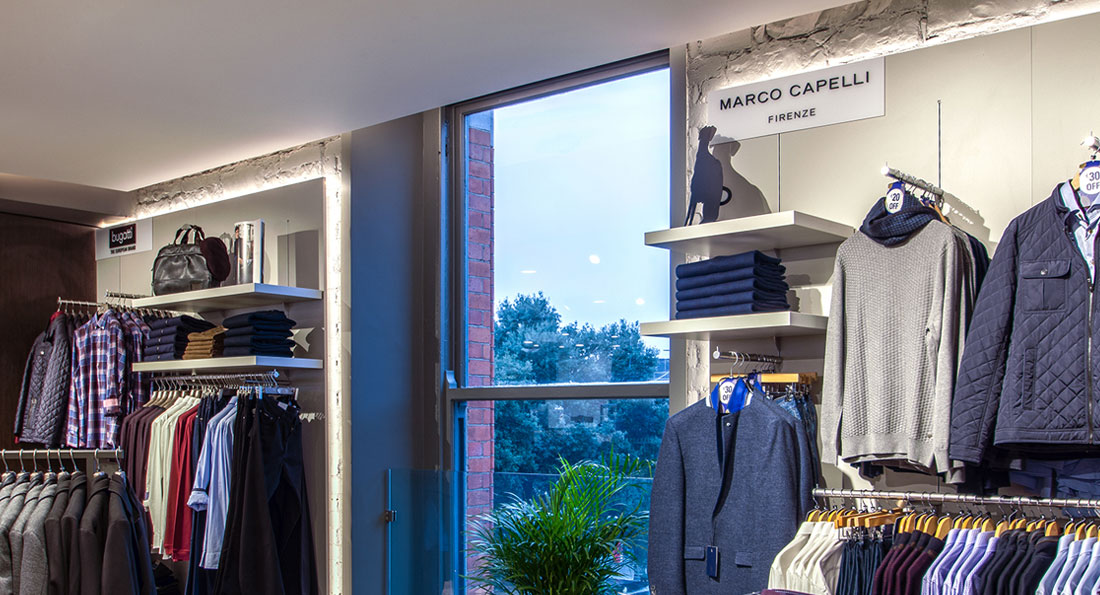 Prelux Eco LED strips are ideal for installing behind retail panelling to emphasise the product range