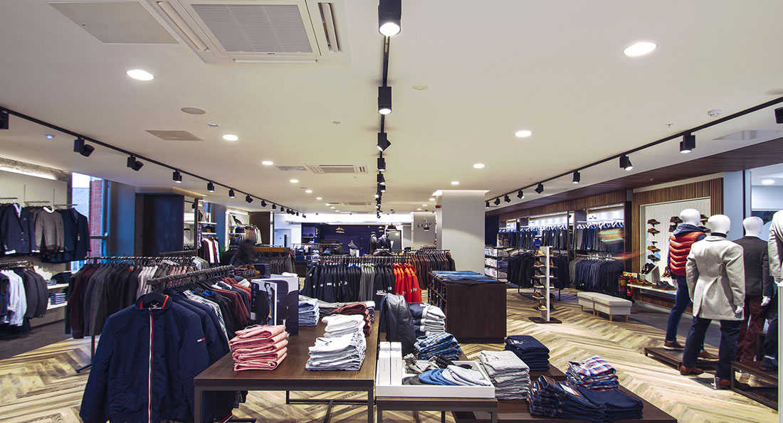 54 x Prelux 35W Cosmo Track Spots were used in the Best Menswear retail store project