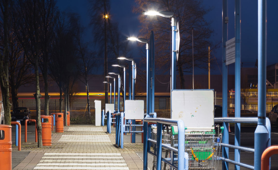 Prelux Hi-Tower LED Public Lighting at the Royal Liver Business Park in Dublin.