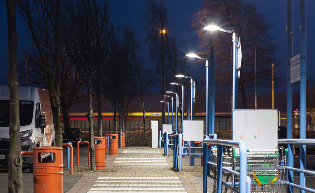 Prelux Hi-Tower LED Public Lighting at the Royal Liver Business Park