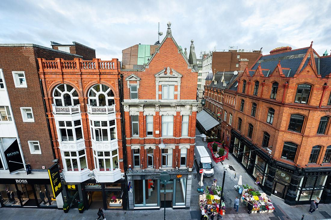Ariel shot of Permanent TSB Grafton Street