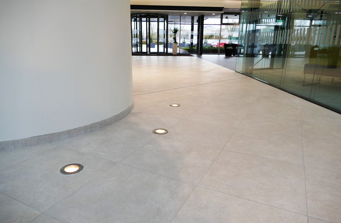 Prelux LED In-ground fittings used stairwell