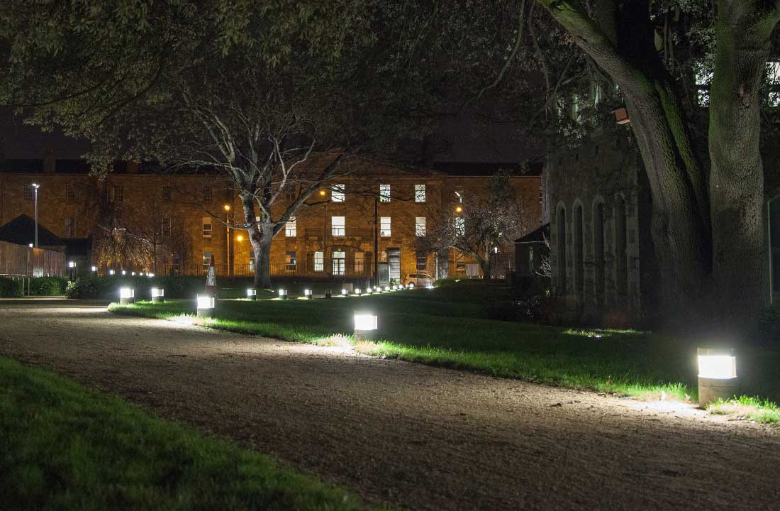 The mini bollards provide assymetrical light to the paths