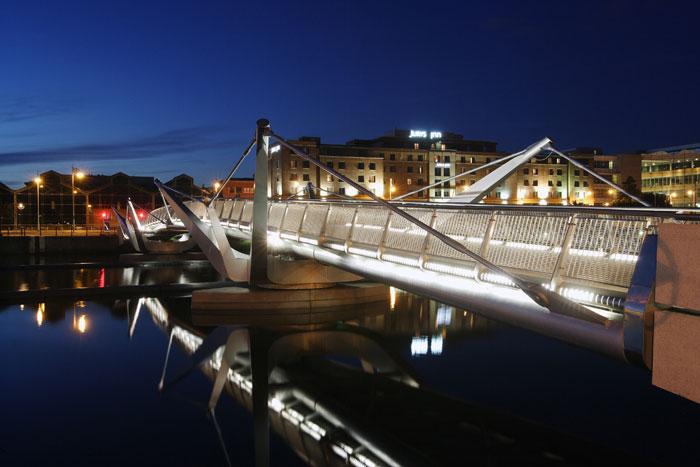 Bespoke Concord lighting at Sean O'Casey bridge Dublin