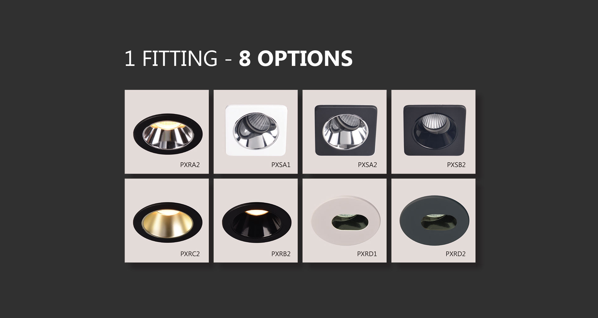 Prelux Bari LED Downlight 8 Possible Finishes