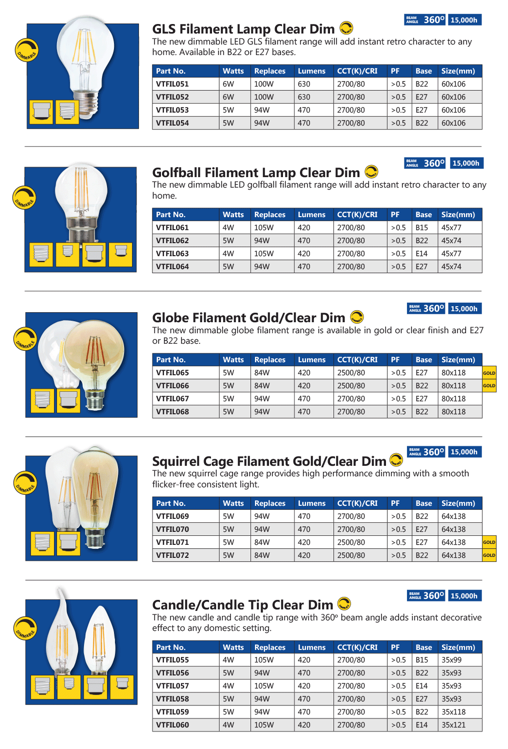 Venture Lighting LED Filament Lamp Range